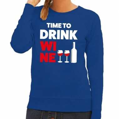 Toppers time to drink wine tekst sweater blauw dames