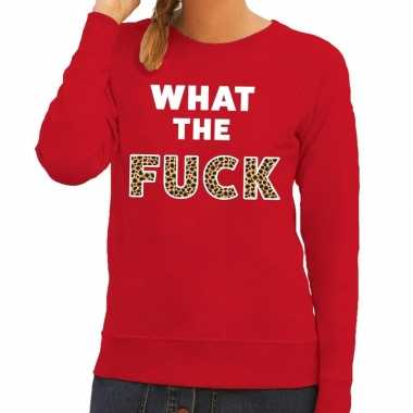 Toppers what the fuck tijger tekst sweater rood dames