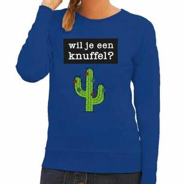 Toppers wil je een knuffel tekst sweater blauw dames