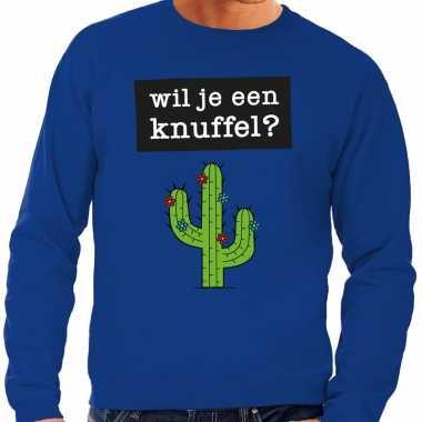 Toppers wil je een knuffel tekst sweater blauw