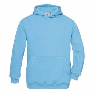 Turquoise katoenmix sweater capuchon meisjes
