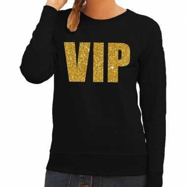 Vip tekst sweater / trui zwart gouden letters dames