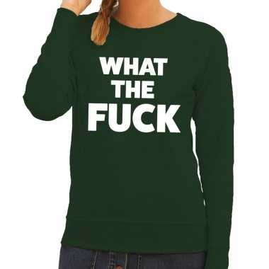 What the fuck tekst sweater groen dames