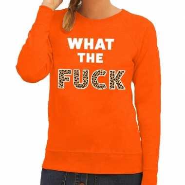 What the fuck tekst sweater oranje dames