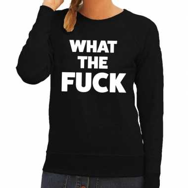 What the fuck tekst sweater zwart dames