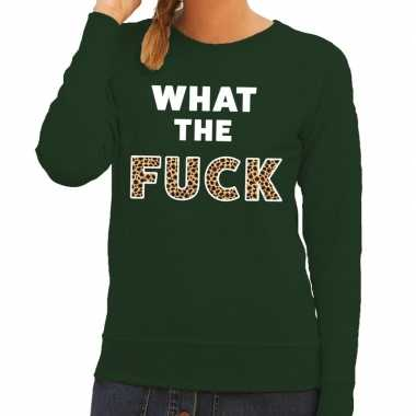 What the fuck tijger tekst sweater groen dames