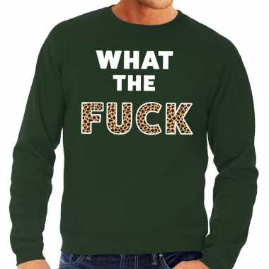 What the fuck tijger tekst sweater groen heren