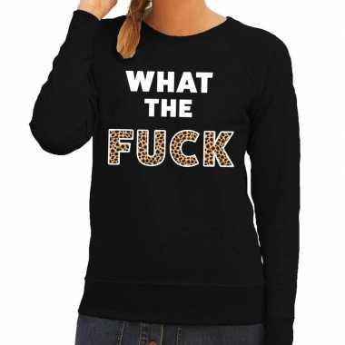 What the fuck tijger tekst sweater zwart dames