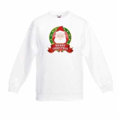 Wit kerst sweater kinderen kerstman