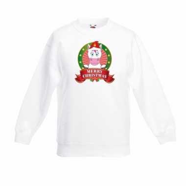 Witte kerst sweater kinderen een eenhoorn