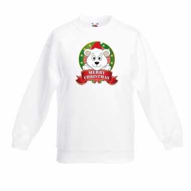 Witte kerst sweater kinderen een ijsbeer