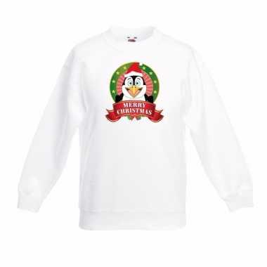 Witte kerst sweater kinderen een pinguin