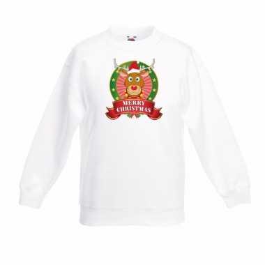 Witte kerst sweater kinderen rendier rudolf