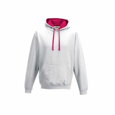 Witte sweater roze capuchon dames