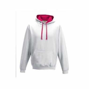 Witte sweater roze capuchon heren