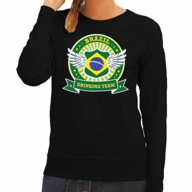 Zwart brazil drinking team sweater dames