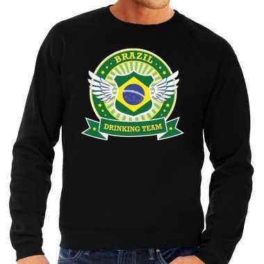 Zwart brazil drinking team sweater heren