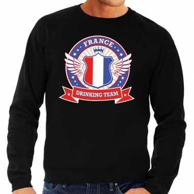 Zwart france drinking team sweater heren