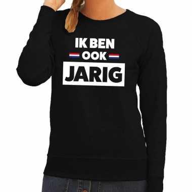 Zwart ik ben ook jarig sweater hollandse vlag dames