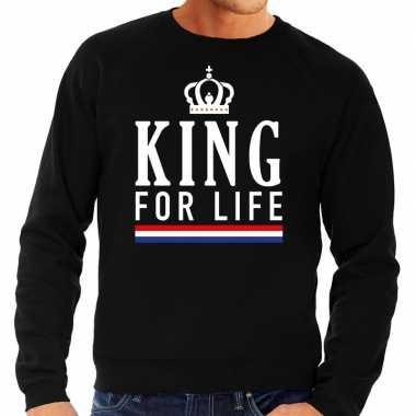 Zwart king for life sweater heren