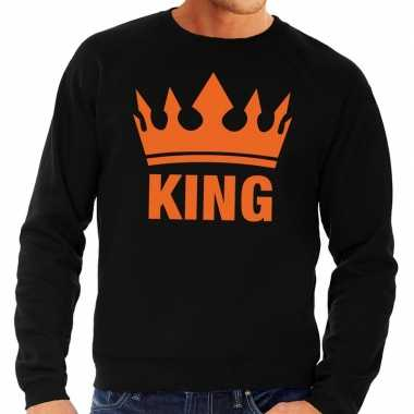 Zwart king kroon sweater heren