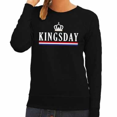 Zwart kingsday hollandse vlag sweater dames