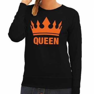 Zwart queen kroon sweater dames