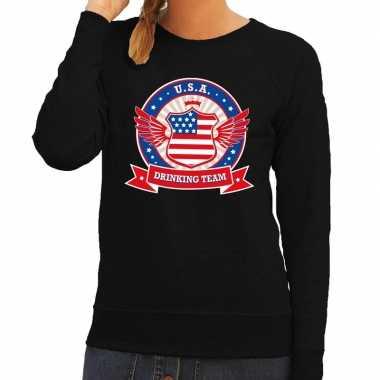 Zwart usa drinking team sweater dames