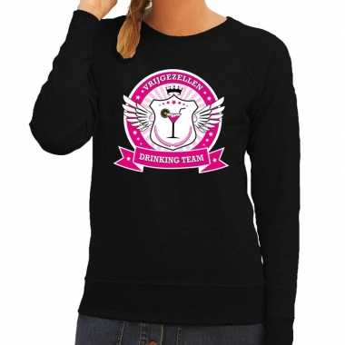 Zwart vrijgezellen drinking team sweater dames