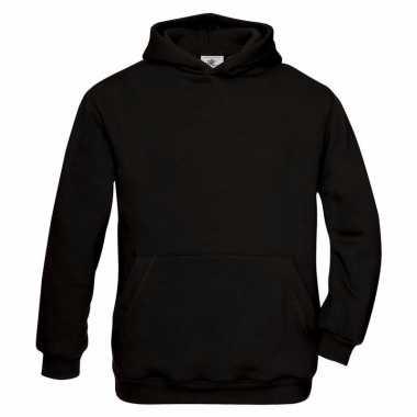 Zwarte katoenmix sweater capuchon meisjes