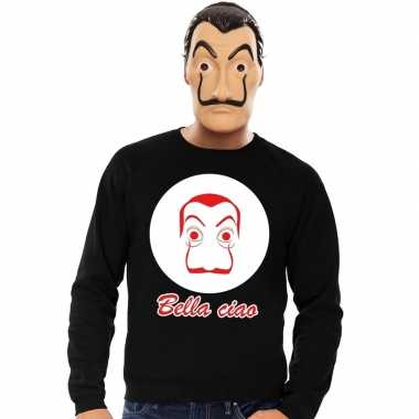 Zwarte salvador dali sweater la casa papel masker heren