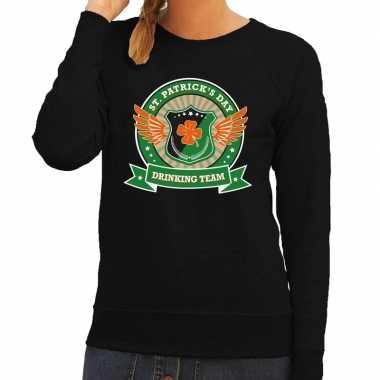 Zwarte st. patricks day drinking team sweater dames