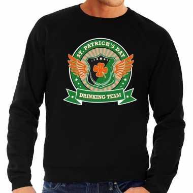 Zwarte st. patricks day drinking team sweater heren