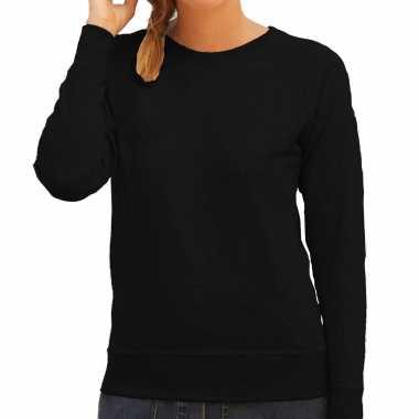 Zwarte sweater / sweatshirt trui raglan mouwen ronde hals dames