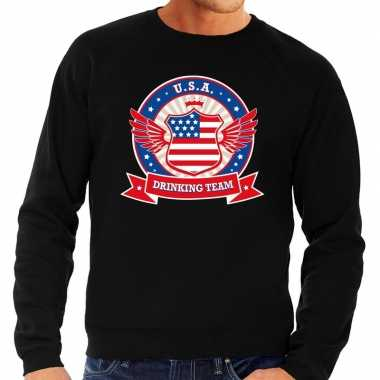Zwarte usa drinking team sweater heren