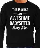 Awesome babysitter oppas cadeau sweater zwart heren