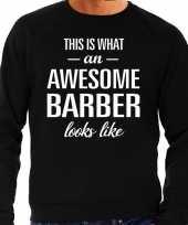 Awesome barber barbier cadeau sweater zwart heren