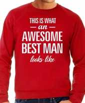 Awesome best man getuige cadeau sweater rood heren