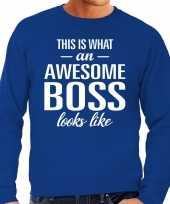 Awesome boss baas cadeau sweater blauw heren