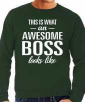 Awesome boss baas cadeau sweater groen heren