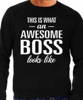 Awesome boss baas cadeau sweater zwart heren