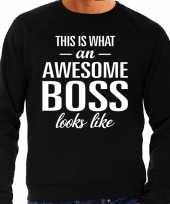 Awesome boss baas cadeau sweater zwart heren
