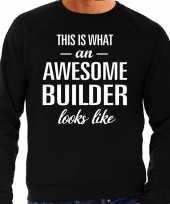 Awesome builder bouwvakker cadeau sweater zwart heren