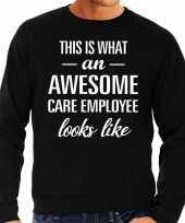 Awesome care employee cadeau sweater trui zwart heren