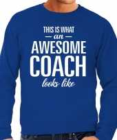 Awesome coach trainer cadeau sweater blauw heren