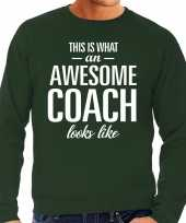 Awesome coach trainer cadeau sweater groen heren