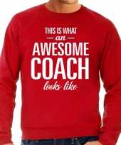 Awesome coach trainer cadeau sweater rood heren