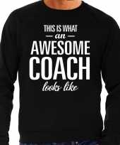 Awesome coach trainer cadeau sweater zwart heren