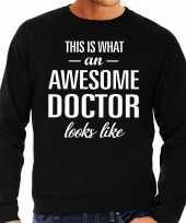Awesome doctor dokter cadeau sweater trui zwart heren