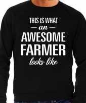 Awesome farmer boer cadeau sweater zwart heren